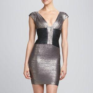 Herve Leger Melena gray metallic dress